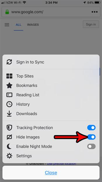 как скрыть изображения в firefox на iphone