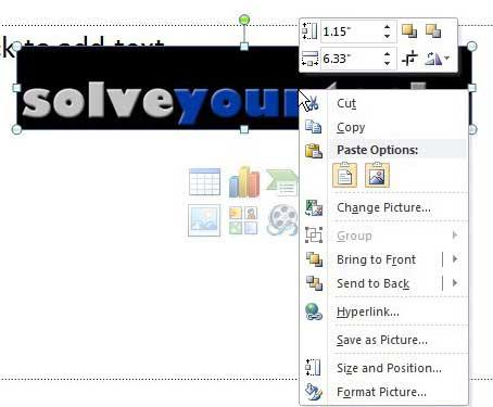 отобразить контекстное меню изображения PowerPoint