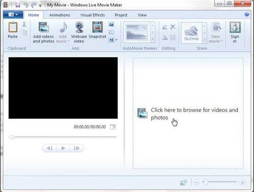 открыть видео в Windows Live Movie Maker