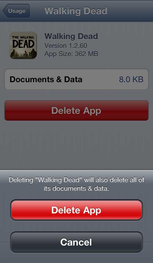 удалить приложение с экрана использования iphone 5