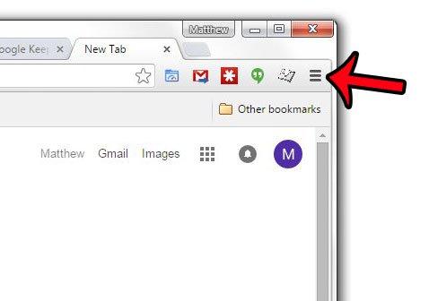 откройте меню настроек Google Chrome