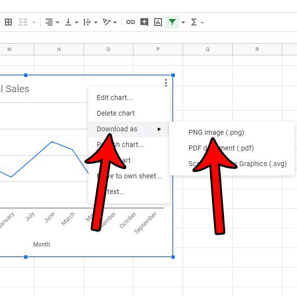 как скачать график или график листов Google в виде изображения