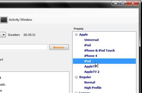 Выберите опцию iPad