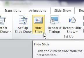 как скрыть слайды в powerpoint 2010