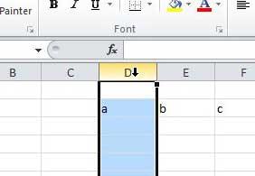 выберите столбец в Excel 2010