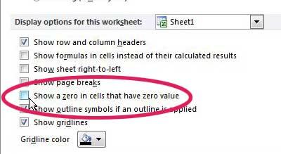 скрыть нули в Excel 2010