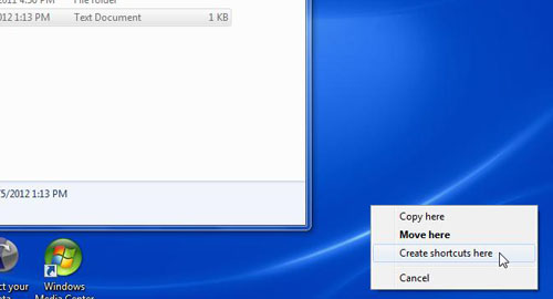щелкните правой кнопкой мыши и перетащите файл на рабочий стол