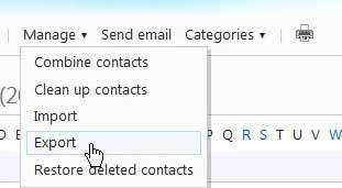 экспорт контактов из Hotmail в Outlook 2010