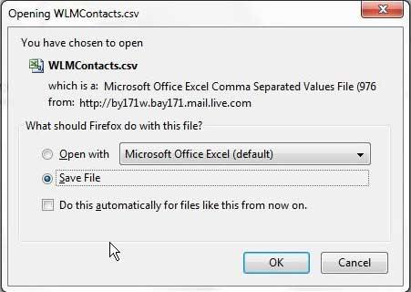сохраните экспортированные контакты Hotmail на свой компьютер