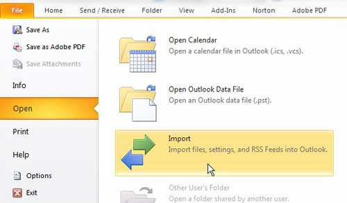 открыть инструмент импорта в Outlook 2010