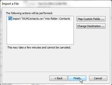 завершить процесс импорта ваших контактов Hotmail в Outlook
