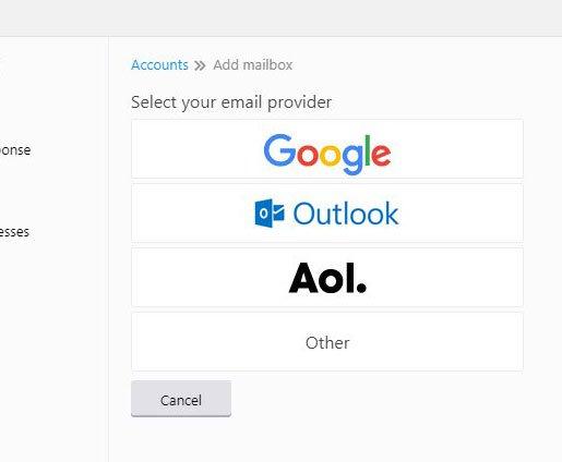 выберите тип учетной записи электронной почты, чтобы добавить в Yahoo Mail