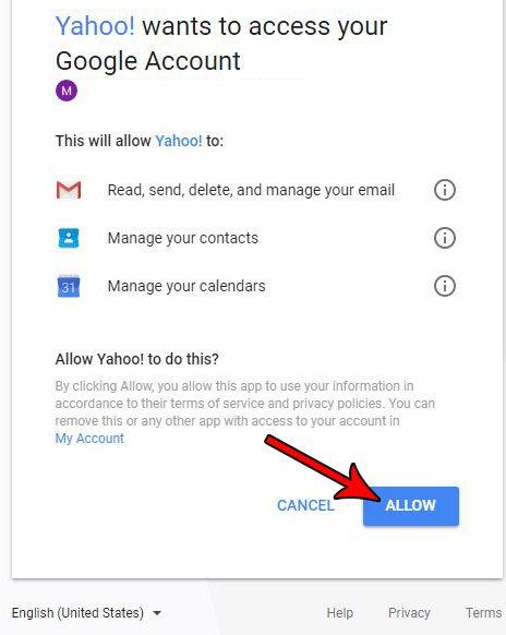 разрешить Yahoo доступ к другой учетной записи электронной почты