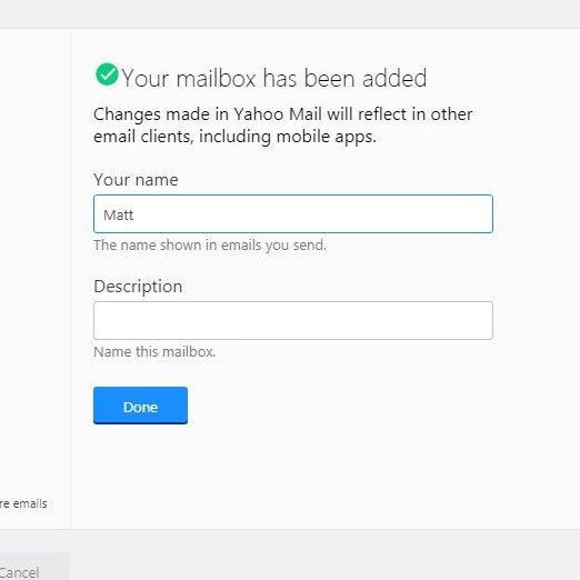 введите имя и описание для новой учетной записи в Yahoo Mail