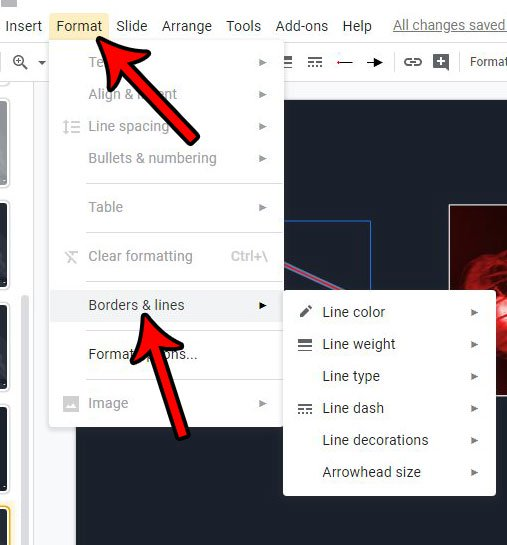 как изменить цвет и размер слайдов Google arrow