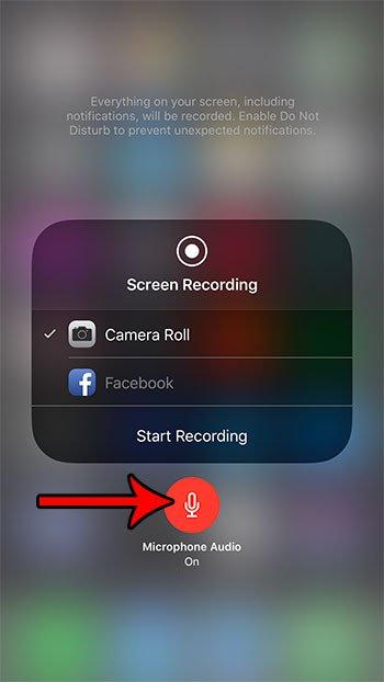 как добавить аудио запись экрана iphone