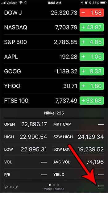 открыть меню акций