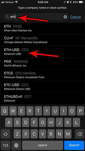 как добавить криптовалюту акции iphone