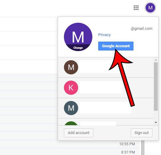 открыть меню учетной записи Google