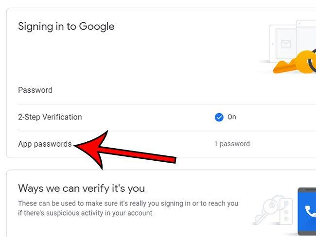 выберите опцию паролей приложения