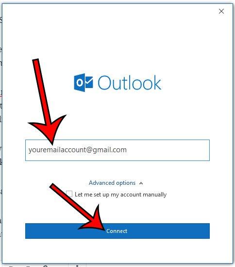 введите адрес электронной почты и нажмите подключиться