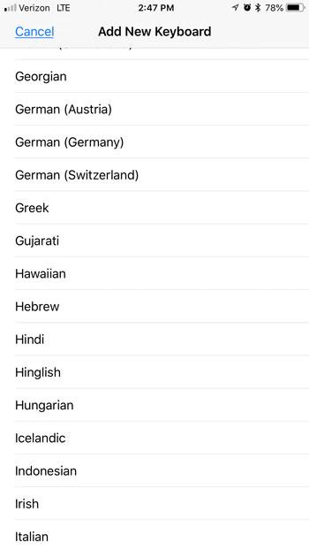 добавить новую языковую клавиатуру на iphone 7
