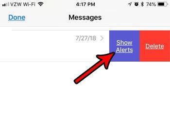 показывать оповещения для отключенного группового сообщения на iphone