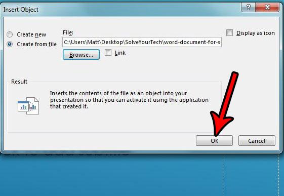 как вставить текстовый документ в PowerPoint