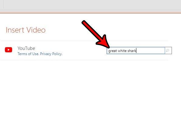 поиск видео на YouTube в PowerPoint онлайн