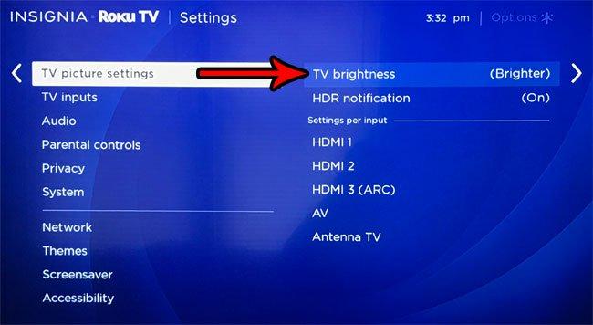 изменить уровень яркости телевизора