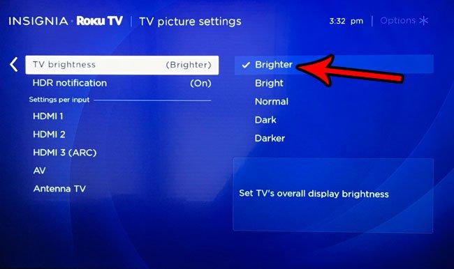 как отрегулировать яркость на roku tv