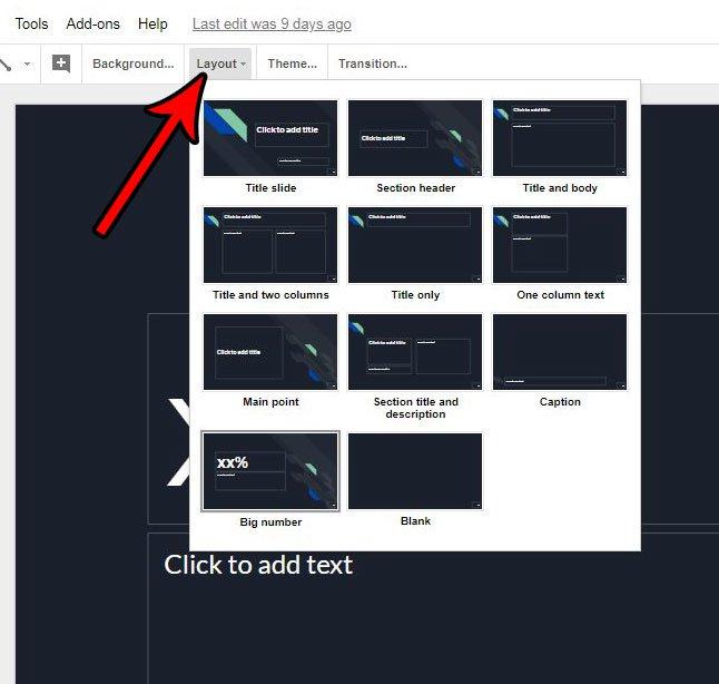 Как применить макет в Google Slides