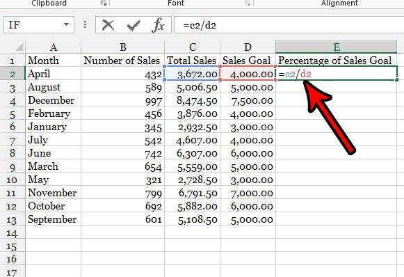 процентная формула в Excel 2013
