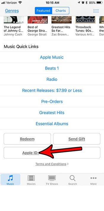 нажмите кнопку Apple ID
