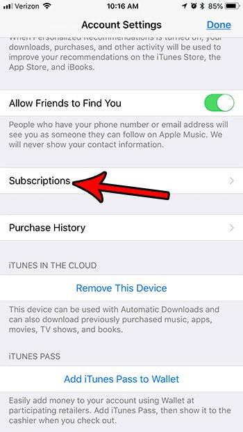 как найти подписку на iphone 7