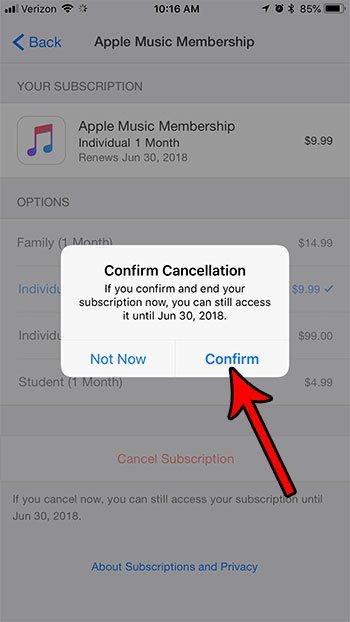 как отменить подписку Apple Music с iphone