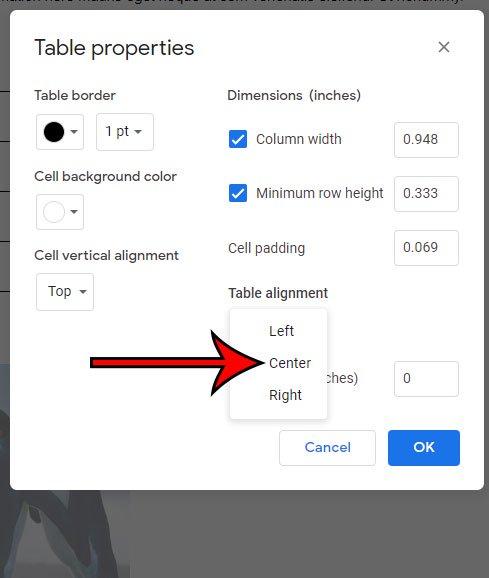 как центрировать таблицу в Google Docs