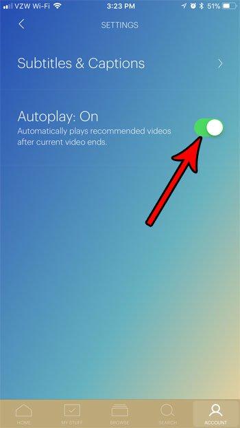 как изменить настройку автозапуска hulu в приложении iphone
