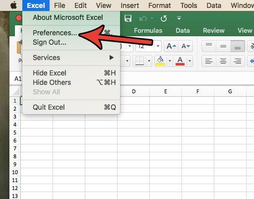 откройте Excel для Mac настроек