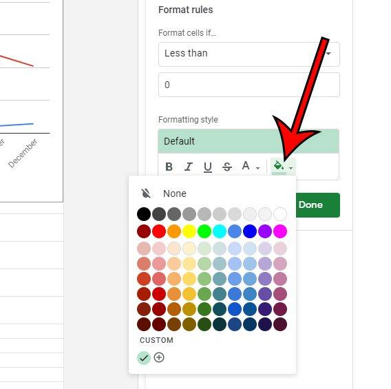 выберите цвет заливки для значений меньше 0