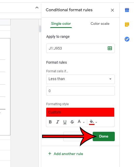 как сделать ячейки красными, если в Google Sheets значение меньше 0