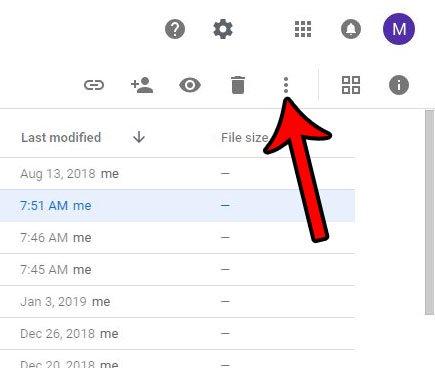 откройте меню других действий на Google Диске