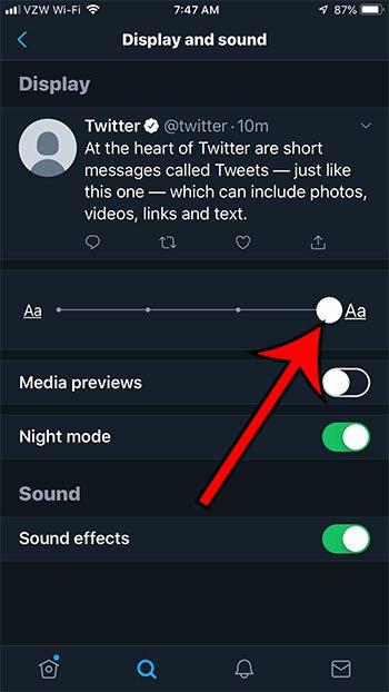 как изменить размер текста в приложении Twitter для iphone