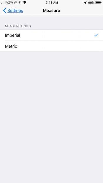 переключить imerial метрика мера iphone