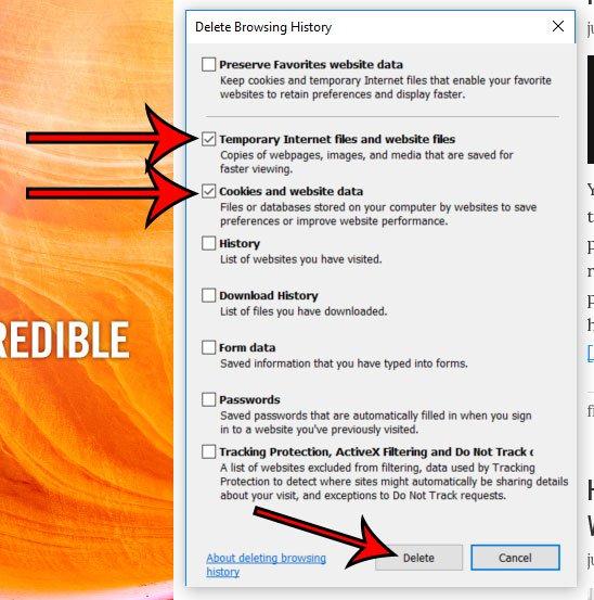 как очистить кеш в Internet Explorer 11
