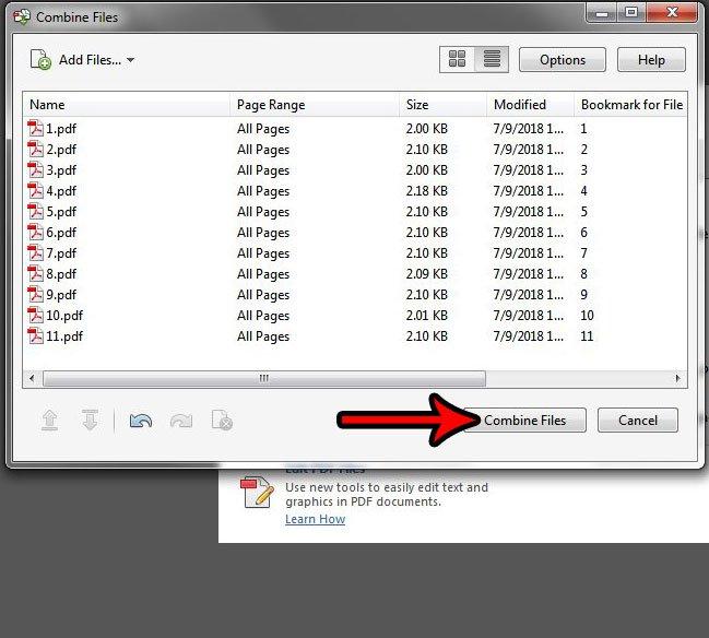объединить файлы в Acrobat Pro XI