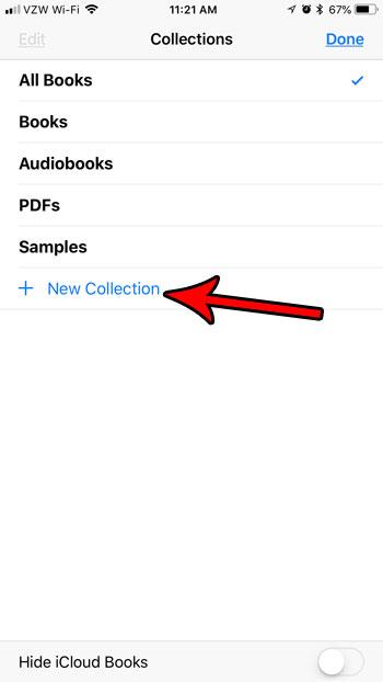 как создать новую коллекцию ibooks iphone