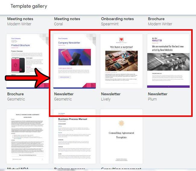 как создать информационный бюллетень Google Docs из шаблона