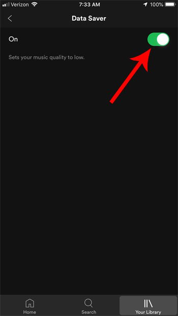 как включить сохранение данных в spotify на iphone