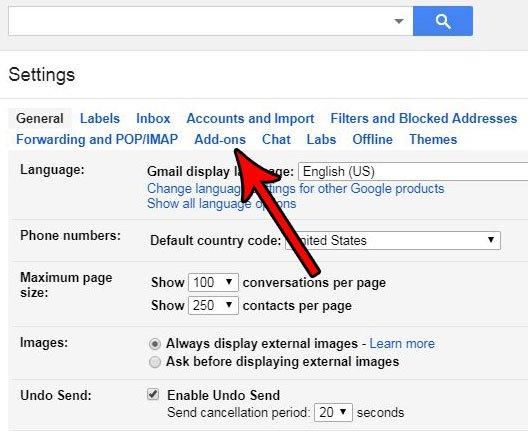 выберите вкладку дополнений в настройках Gmail